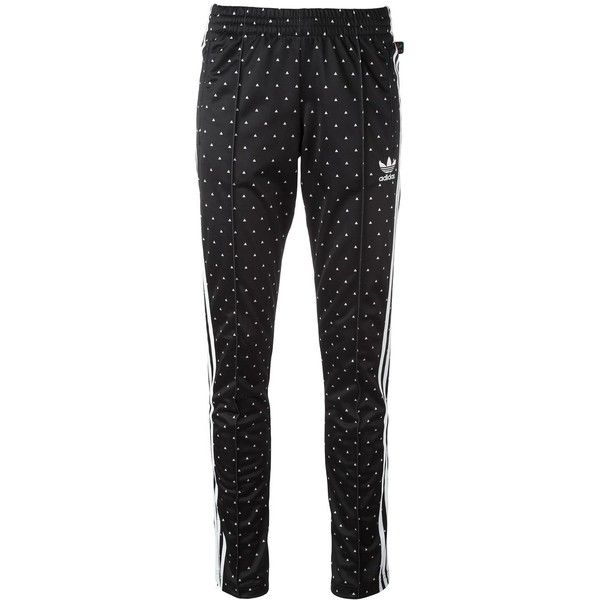 Adidas 'Hu Race' printed track pants ($75) ❤ liked on Polyvore featuring activewear, activewear pants, black, adidas activewear, adidas sportswear, adidas and track pants