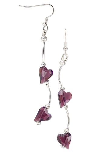 Earrings with Swarovski Crystal Beads and Silver-Plated Tube Beads