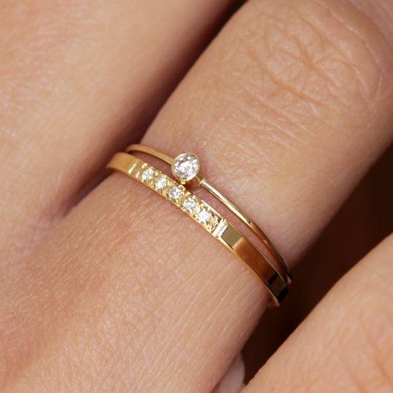 Diamond Wedding Set with a Pave Wedding Band - 14k Gold