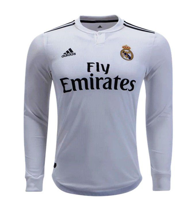 uk availability 219a2 eaa3c FAN SHIRT Real Madrid White long sleeves 2018-2019 Primary ...