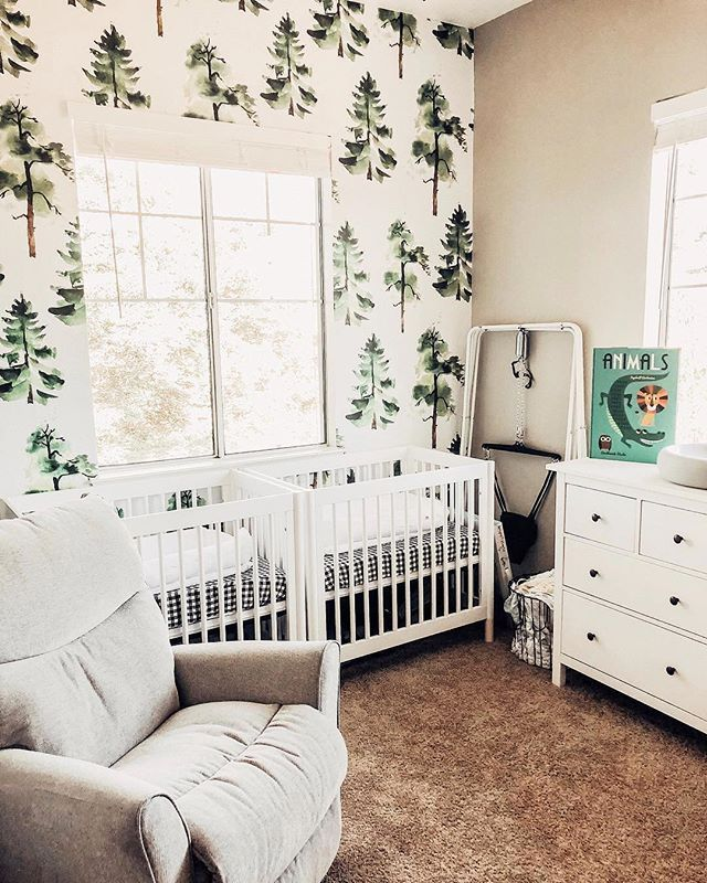 Total Nature Vibes In This Sweet Nursery For Twins Shop The Tree Wallpaper On Project Nursery Image Maci Nursery Baby Room Baby Room Design Baby Room Decor