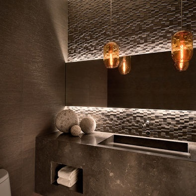 Lincoln Place by Ownby Design (Houzz). Love the lighting detail on the mirror, stone accent wall and sink!