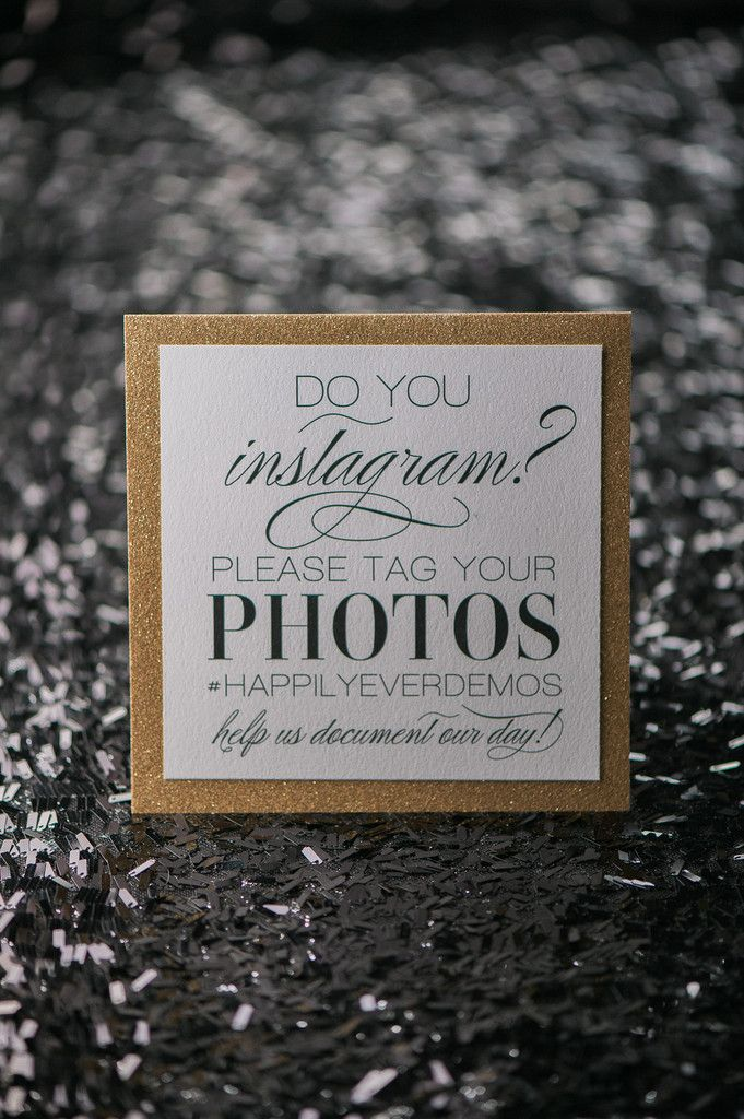 Awesome and unique custom Wedding Day Signs. Black and Gold Glitter Instagram sign by Just Invite Me