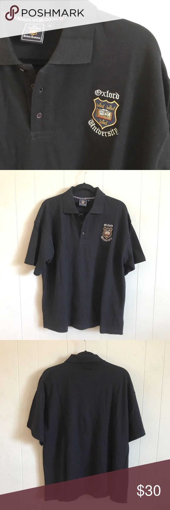 """Official The Varsity Shop Oxford University XL Men's Official The Varsity Shop Oxford University XL Shirt, Navy Blue Embordered Oxford University From the Varity Shop in the UK  Arm Pit to Arm Pit 24.5 and Length 28.5"""" The Varsity Shop Oxford University Shirts Polos"""