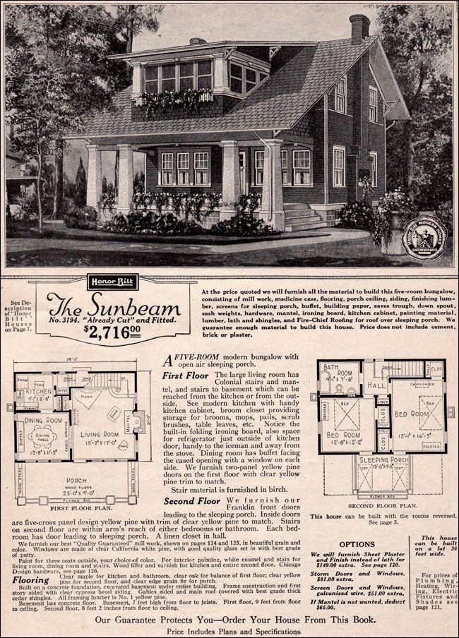 1923 SEARS ROEBUCK MODERN HOMES Sunbeam