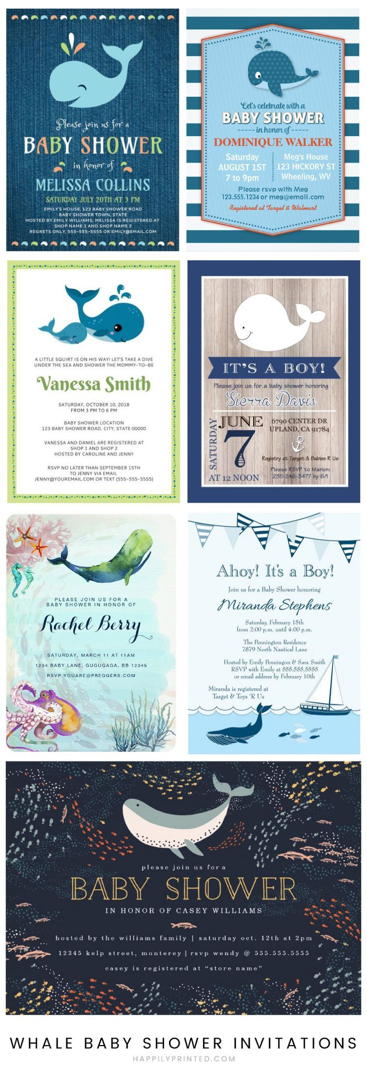 Whale baby shower invitations. Many under the sea theme designs for a baby boy or girl
