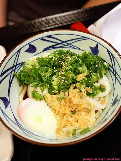 Handmade udon noodles with a slow cooked egg from Marukame Udon