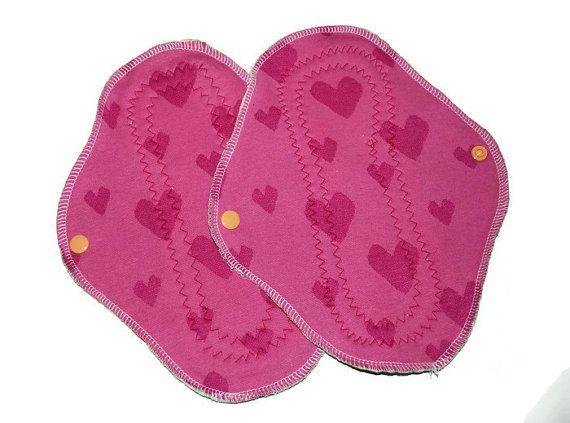 Pink heart bamboo cloth pads, normal, mama pads, 2 pcs