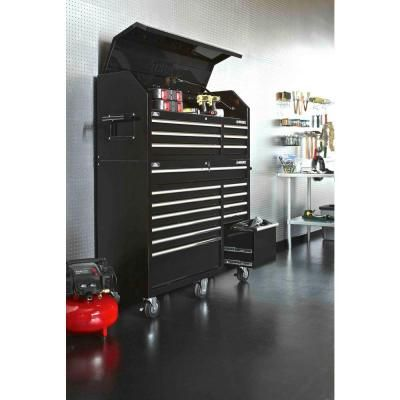 husky 52 in 18drawer tool chest and rolling tool cabinet set black