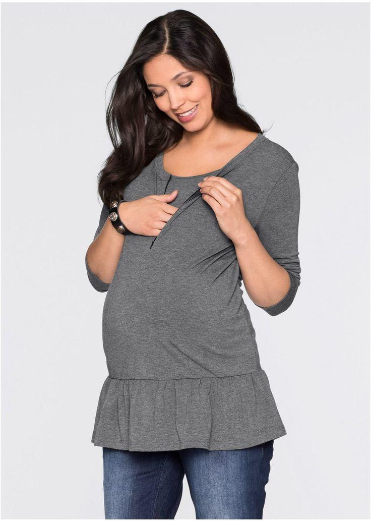 Długi shirt ciążowy i do karmienia, z baskinką, do noszenia w czasie i po ciąży • 79.99 zł • bonprix