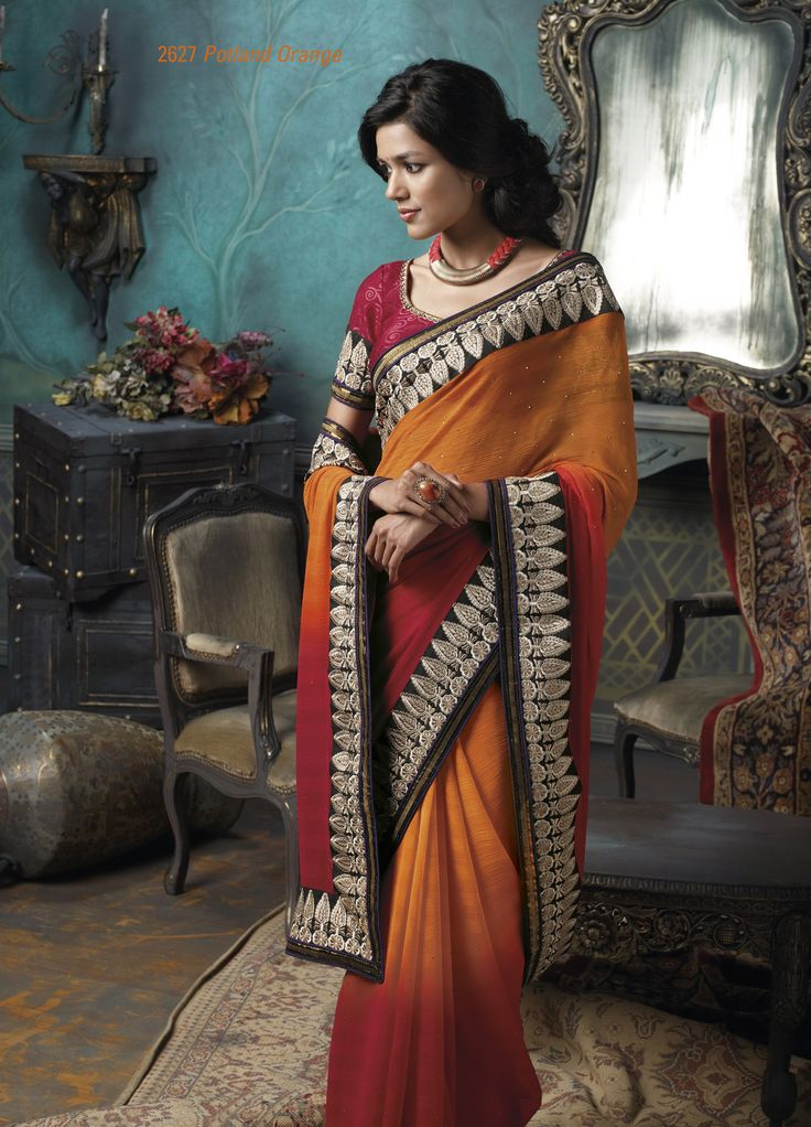 Red & orange color chiffon saree with broad golden color embroidered border