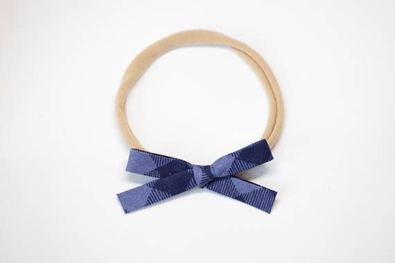 BLUEBERRY GINGHAM handmade headband hairbow