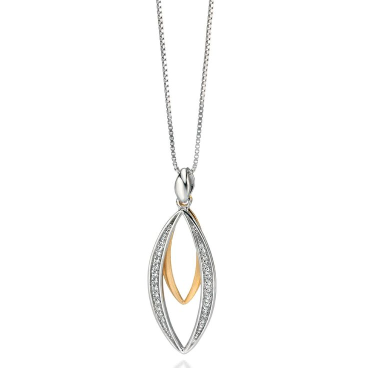 Fiorelli Oval Sterling Silver Necklace With Swarovski Elements - yourgifthouse