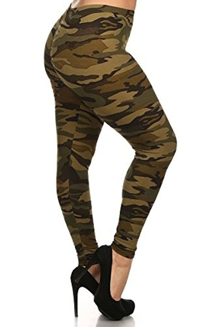 D7 Ladies Womens PLUS Camo Camouflage High Waist Leggings Army Green Pants ** Tried it! Love it! Click the image. : Plus size leggings