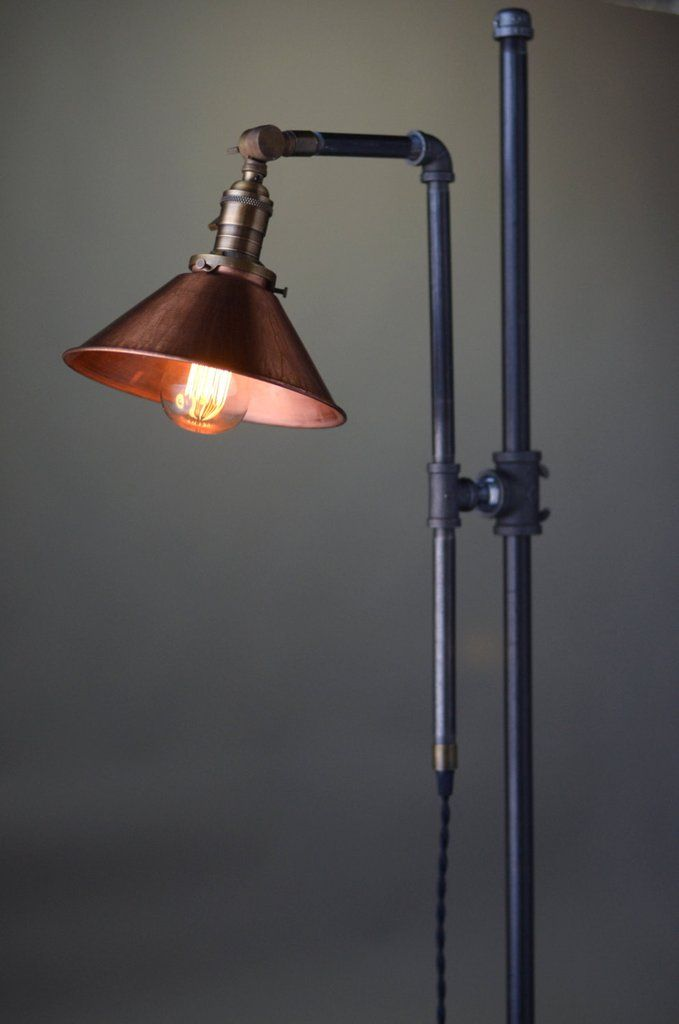 Adjustable Floor Lamp - Copper Shade - Industrial Lamp - Rustic Floor Lamp - Barn Lighting - Reading Floor Lamp