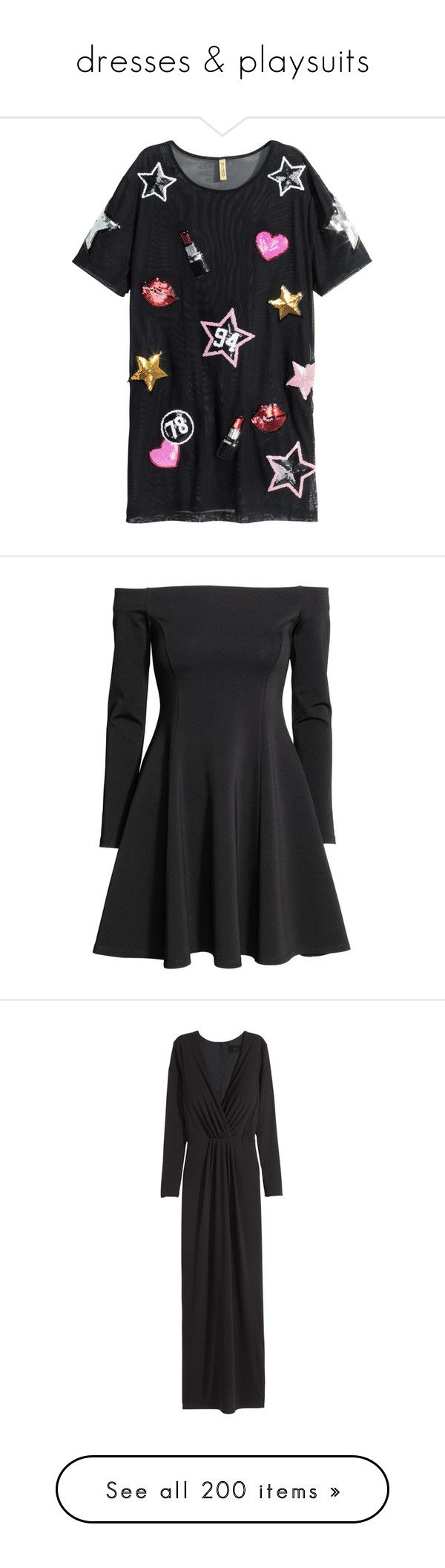 """dresses & playsuits"" by honey-beans-xo ❤ liked on Polyvore featuring dresses, black, short dress, vestidos, long sleeve dress, long-sleeve mini dress, h&m dresses, off the shoulder dress, long sleeve jersey and h&m"