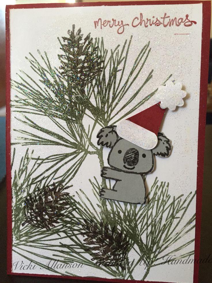 A Aussie Christmas. Using Stampin' Up Kinda Koala and Ornamental Pine