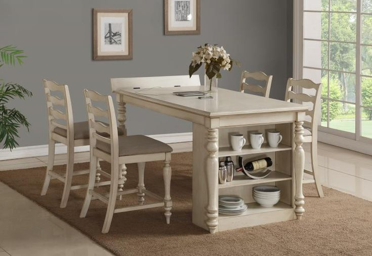 """Bernards Furniture Group   Nantucket Traditional Island Counter Dining   Updated form and function defines our new """"Island Dining"""" program. Kitchen islands are the focal point in all homes. It's where we gather with family and friends. We have taken this trend to free-standing dining. Function - storage and flip top area for charging."""
