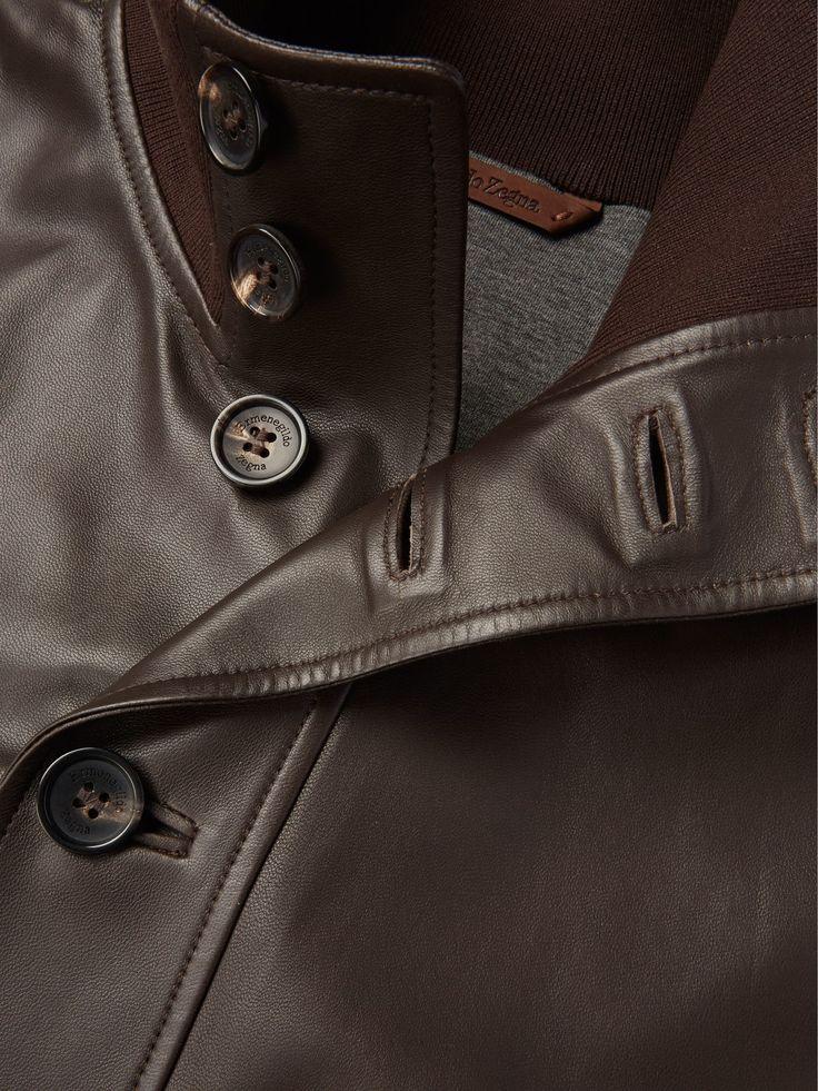 Veste blouson marron cuir nappa