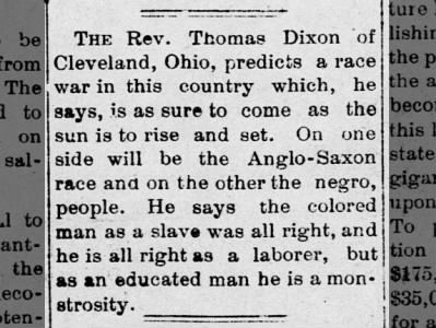Race War Prediction by the Rev. Thomas Dixon of Cleveland, Ohio News  on Feb 27, 1903 on page 4