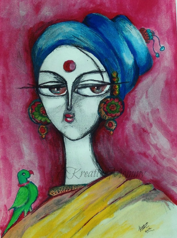 Fine art print. Indian lady with a parrot by AKreativeMommy on Etsy