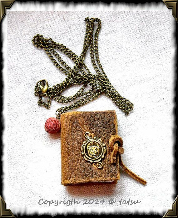 Mini book pendant with steampunk motive. HAND MADE. by GuildCosel