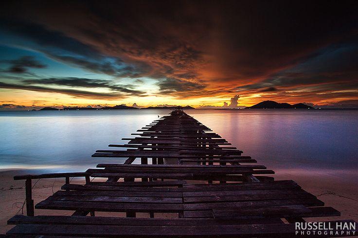 Dimension sunset, beach, bridge, orange, indonesia, seascape, mountain, singkawang, kalimantan barat