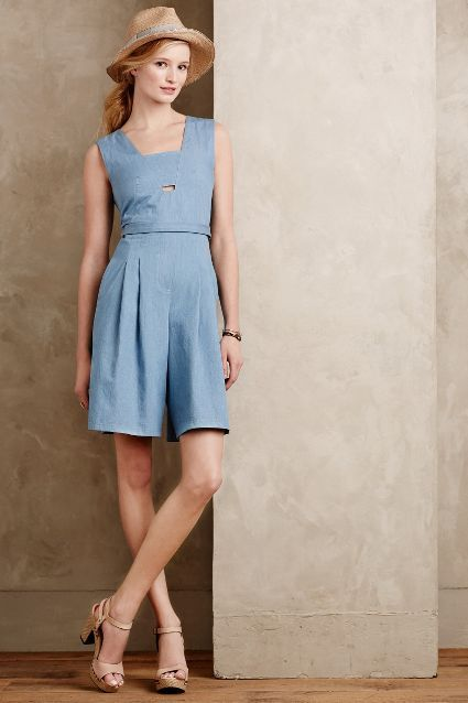Chambray Culotte Romper - anthropologie
