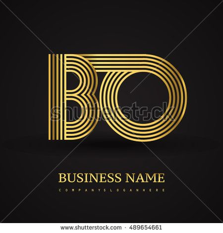 Elegant Initial logo BO letter gold colored. Vector design template elements for company identity.