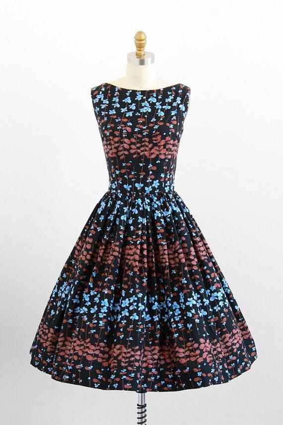 vintage 1950s black, blue, + brown floral day dress #dress #1950s #partydress #vintage #frock #retro #teadress #petticoat #romantic #feminine #fashion