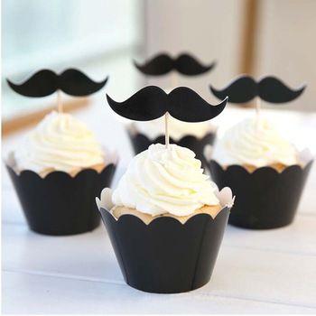 Черный холодный человек усы кекс оболочки + кекс топпер, Дети на день рождения ну вечеринку украшения