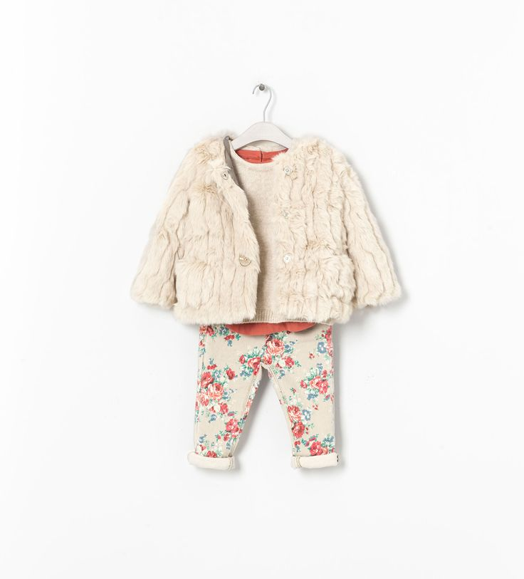 ZARA - KIDS - LOOK12: Fur Jackets, Zara Baby, Kids Fashion, Baby Baby, Fall Outfits, Baby Girls, Girls Stuff, Zara United States, Floral Pants
