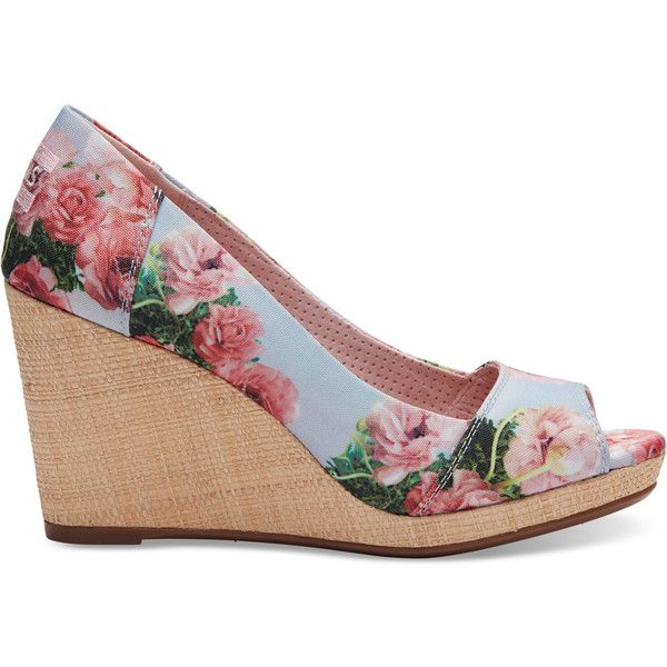 TOMS Pink Graphic Floral Print Women's Stella Peep-Toe Wedges ($79) ❤ liked on Polyvore featuring shoes, pink floral, pink shoes, floral wedge shoes, floral-print shoes, peep toe wedge shoes and floral pattern shoes