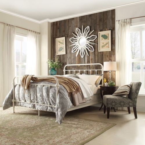 Queen-Size-Bed-Frame-White-Vintage-Antique-Headboard-Footboard-Rustic-Iron-Metal