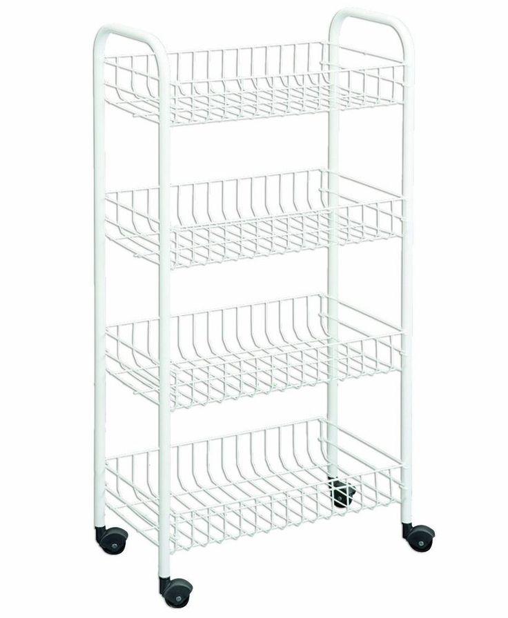 4-Tier Laundry Bathroom Kitchen Rolling Cart Bins Storage ...