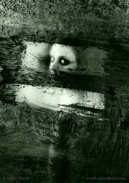 Plastic Windows - FREE SHIPPING 12x18 Print Girl Black White Gray Painted Texture Eye Creepy Haunting Art Portrait