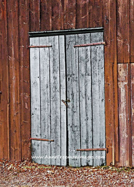Gray barn doors no 1 art print gift home decor weathered for Barn door home decor