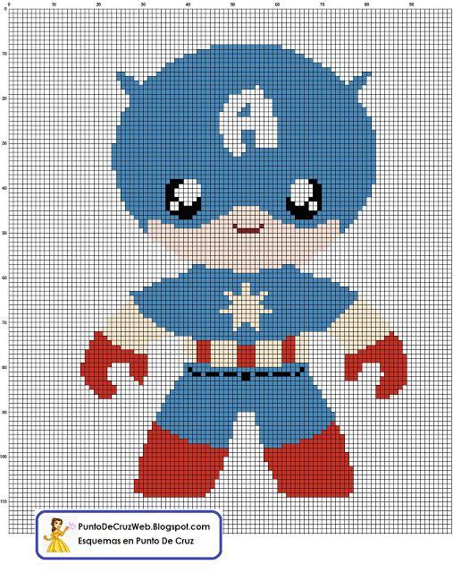 Super Heroe, Bebe Capitán America en Punto De Cruz. www.puntodecruzweb.blogspot.com