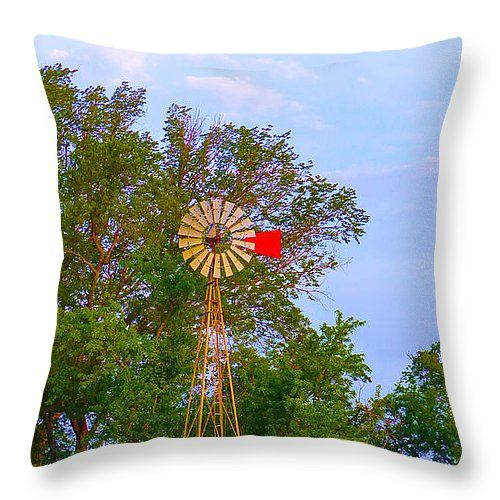 "Aermotor Facing The Sun - Waiting On The Wind 2 Throw Pillow 14"" x 14"""