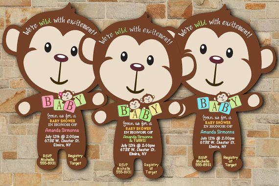 monkey mod monkey baby shower invitations twin baby shower invitation. adorable and unique