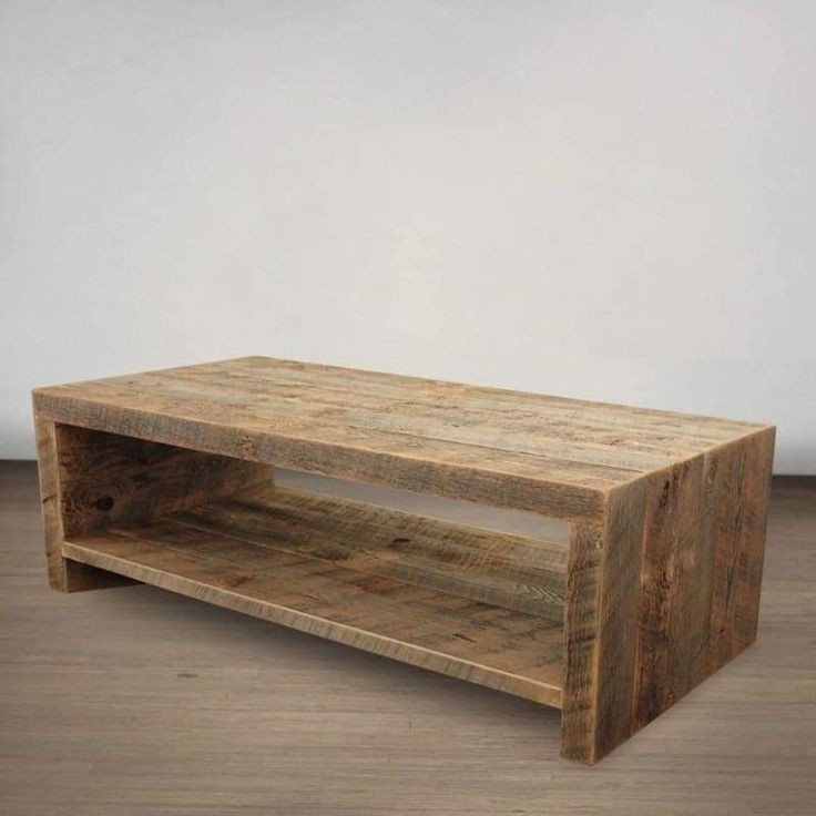 Reclaimed Wood Open Storage All Wood Coffee Table