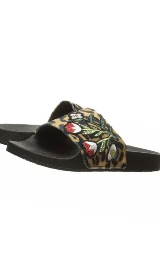 dcecbd47937c Rare Auth Steve Maden Patch Embelished Leopard Slide Sandal Size 6  fashion   clothing