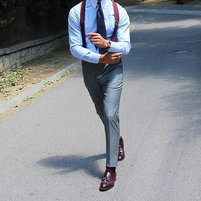 My Dapper Self — Burgundy shoes and suspenders… a fantastic way to...