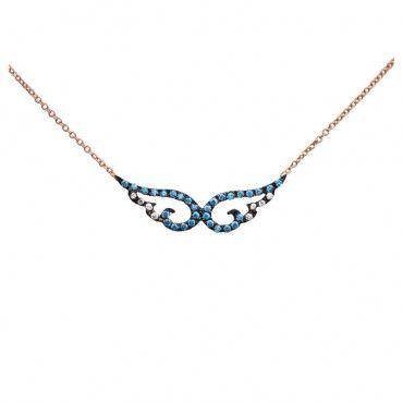 Ένα μοντέρνο κολιέ φτερά από ροζ χρυσό Κ14 με γαλάζια και λευκά ζιργκόν με μαύρο πλατίνωμα σε γυαλιστερό φινίρισμα | Κολιέ ΤΣΑΛΔΑΡΗΣ στο Χαλάνδρι #valentinesday #bemyvalentine #love #4ever #hearts #bemine