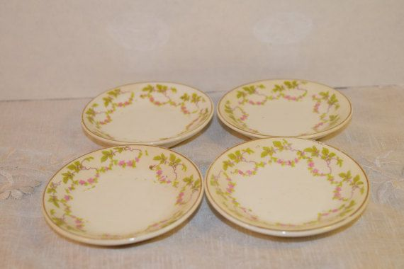 Pink Floral Butter Pat Plate Set Vintage Shabby Chic