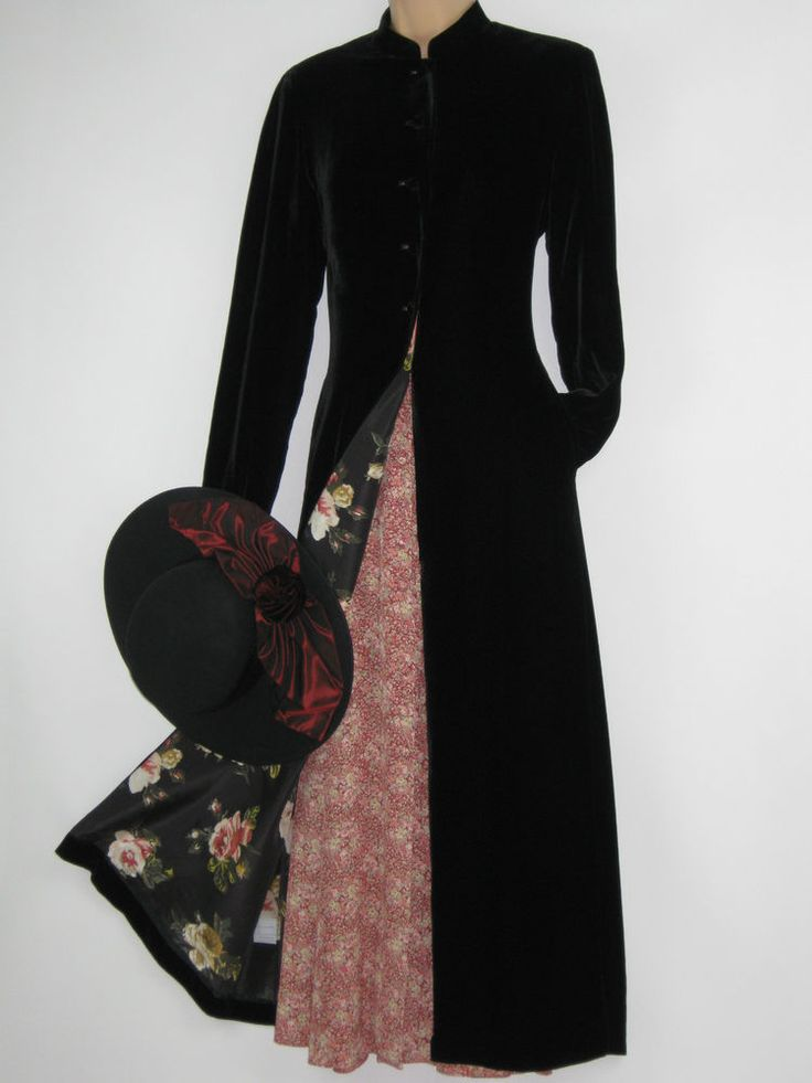 LAURA ASHLEY VINTAGE GOTHIC / STEAMPUNK BLACK VELVETEEN & SILK DRESS COAT,10 #LAURAASHLEY #OtherCoats #Casual