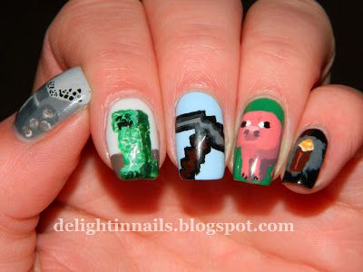 Delight in Nails: Laid-Back NEW31DC Day 24 - Inspired By A Game - Minecraft Nails!