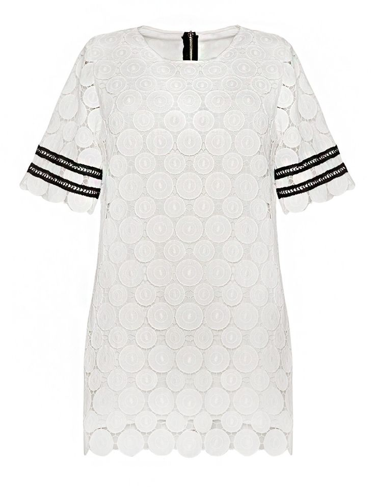White And Black Varsity Crochet Dress - Lace Mod Dress -$79