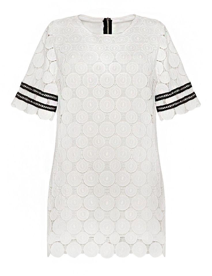 White And Black Varsity Crochet Dress - Lace Mod Dress -$79