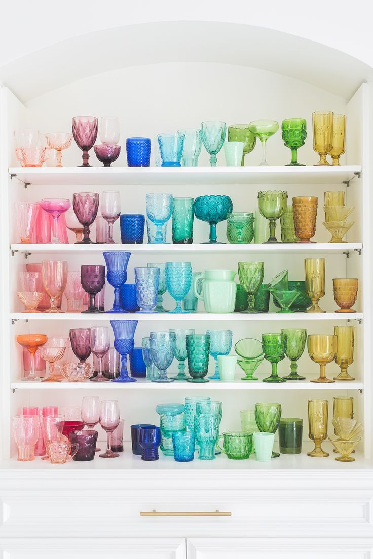 Vintage rainbow glassware collection // Elsie Larson for Domino Magazine…